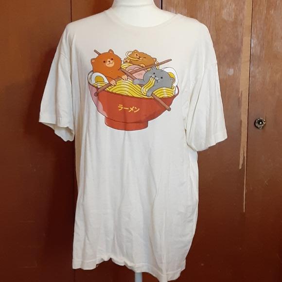 Kawaii Ramen Cat Tee Shirt By Pepe Rodriguez